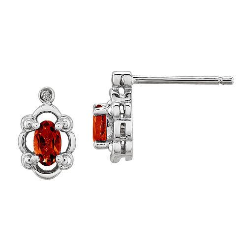 Diamond Accent Oval Red Garnet Sterling Silver Stud Earrings