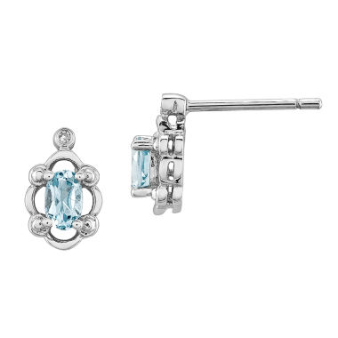 jcpenney.com | Diamond Accent Oval Blue Aquamarine Sterling Silver Stud Earrings