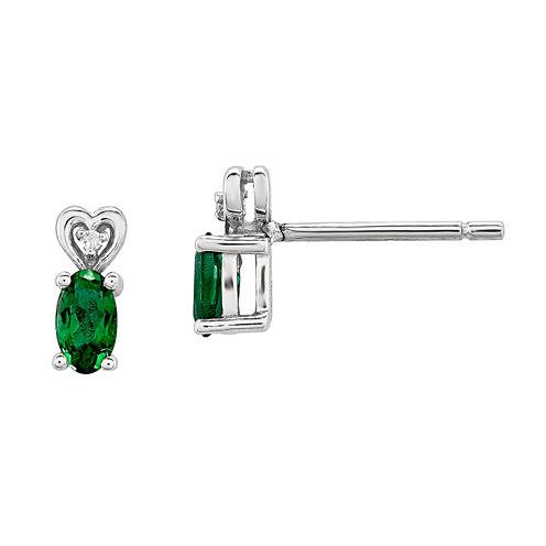 Diamond Accent Oval Green Emerald Sterling Silver Stud Earrings