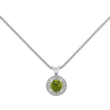 jcpenney.com | Womens Diamond Accent Green Peridot Sterling Silver Pendant Necklace