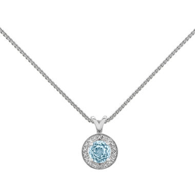 jcpenney.com | Womens Diamond Accent Blue Aquamarine Sterling Silver Pendant Necklace