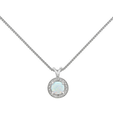 jcpenney.com | Womens Diamond Accent White Opal Sterling Silver Pendant Necklace