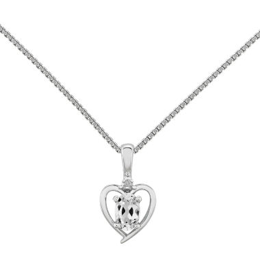 jcpenney.com | Womens Diamond Accent White Topaz Sterling Silver Pendant Necklace