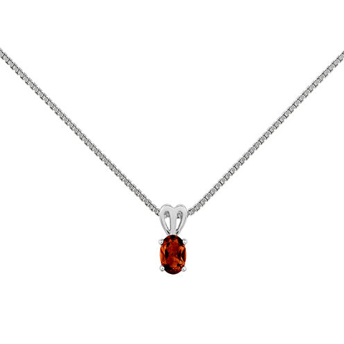 Womens Red Garnet Sterling Silver Pendant Necklace