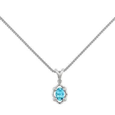 jcpenney.com | Womens Diamond Accent Blue Topaz Sterling Silver Pendant Necklace