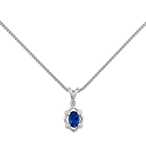 Womens Diamond Accent Blue Sapphire Sterling Silver Pendant Necklace