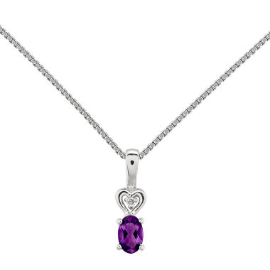 jcpenney.com | Womens Diamond Accent Purple Amethyst Sterling Silver Pendant Necklace
