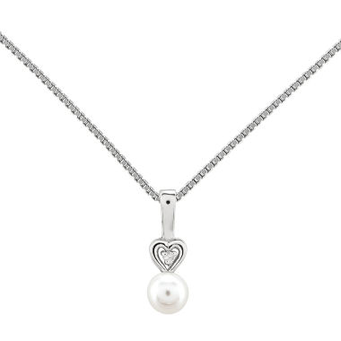 jcpenney.com | Womens Diamond Accent White Pearl Sterling Silver Pendant Necklace