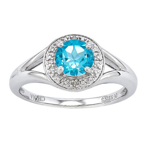 Womens Diamond Accent Blue Topaz Sterling Silver Halo Ring