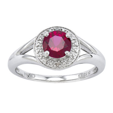 jcpenney.com | Womens Diamond Accent Red Ruby Sterling Silver Halo Ring