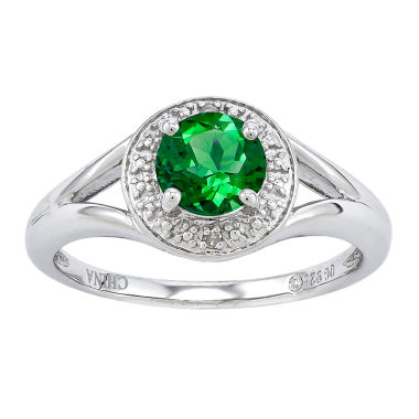jcpenney.com | Womens Diamond Accent Green Emerald Sterling Silver Halo Ring