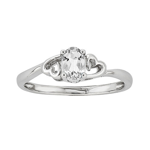 Womens White Topaz Sterling Silver Solitaire Ring