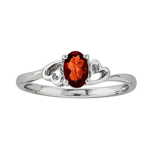 Womens Red Garnet Sterling Silver Solitaire Ring
