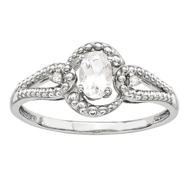 jcpenney.com | Womens Diamond Accent White Topaz Sterling Silver Halo Ring