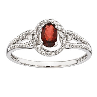 jcpenney.com | Womens Diamond Accent Red Garnet Sterling Silver Halo Ring