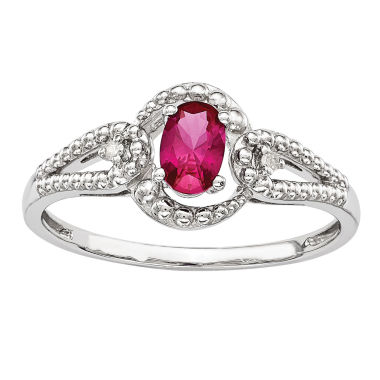 jcpenney.com | Womens Lab-Created Red Ruby and Diamond Accent Ring in Sterling Silver