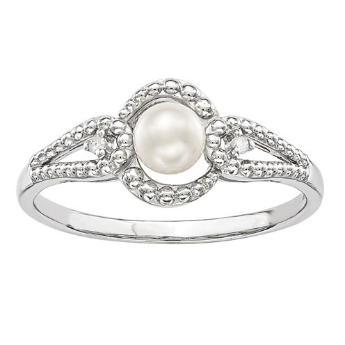 Womens Diamond Accent White Pearl Sterling Silver Halo Ring