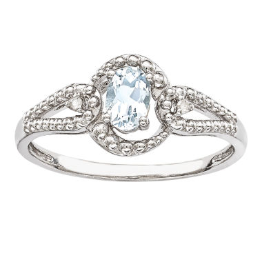 jcpenney.com | Womens Diamond Accent Blue Aquamarine Sterling Silver Halo Ring