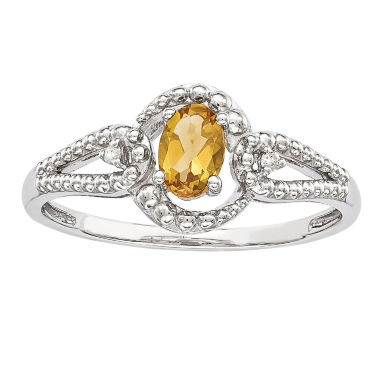 jcpenney.com | Womens Diamond Accent Yellow Citrine Sterling Silver Halo Ring