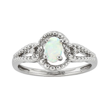 jcpenney.com | Womens Diamond Accent White Opal Sterling Silver Halo Ring