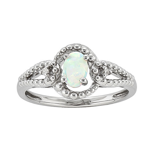 Womens Diamond Accent White Opal Sterling Silver Halo Ring