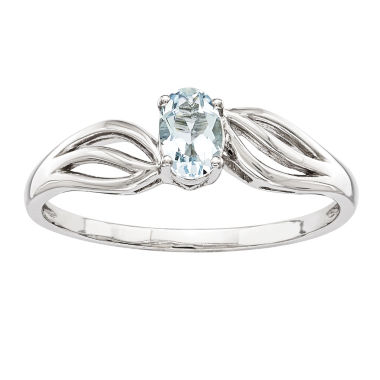 jcpenney.com | Womens Blue Aquamarine Sterling Silver Solitaire Ring
