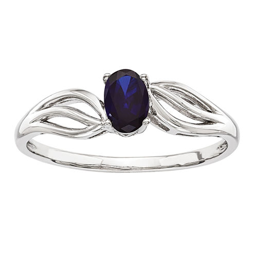 Womens Blue Sapphire Sterling Silver Solitaire Ring