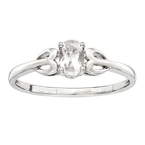 Womens White Topaz Sterling Silver Delicate Ring