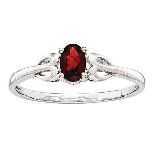 Womens Red Garnet Sterling Silver Delicate Ring