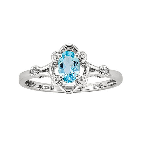 Womens Diamond Accent Blue Topaz Sterling Silver Delicate Ring