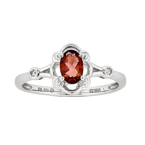 Womens Diamond Accent Red Garnet Sterling Silver Delicate Ring