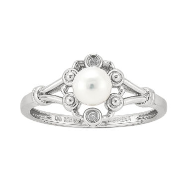 jcpenney.com | Womens Diamond Accent White Pearl Sterling Silver Delicate Ring