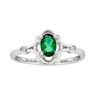 jcpenney.com | Womens Diamond Accent Green Emerald Sterling Silver Delicate Ring