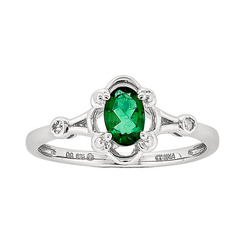 Womens Diamond Accent Green Emerald Sterling Silver Delicate Ring