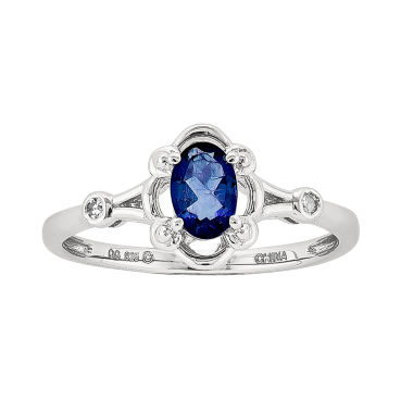 jcpenney.com | Womens Diamond Accent Blue Sapphire Sterling Silver Delicate Ring