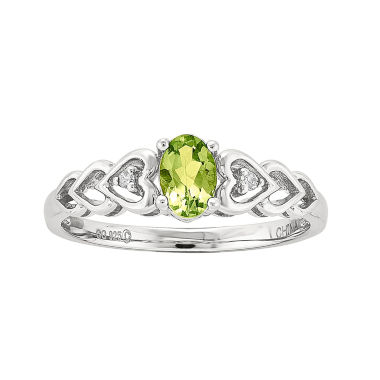 jcpenney.com | Womens Diamond Accent Green Peridot Sterling Silver Delicate Ring