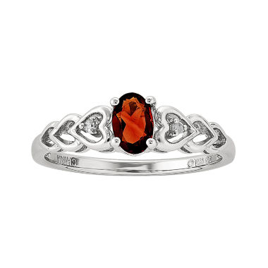 jcpenney.com | Womens Diamond Accent Red Garnet Sterling Silver Delicate Ring
