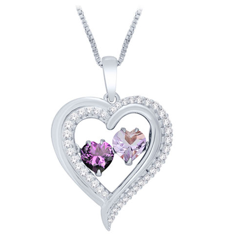 LLove in Motion™ Genuine Amethyst & Lab-Created White Sapphire Heart Pendant Necklace in Sterling Silver