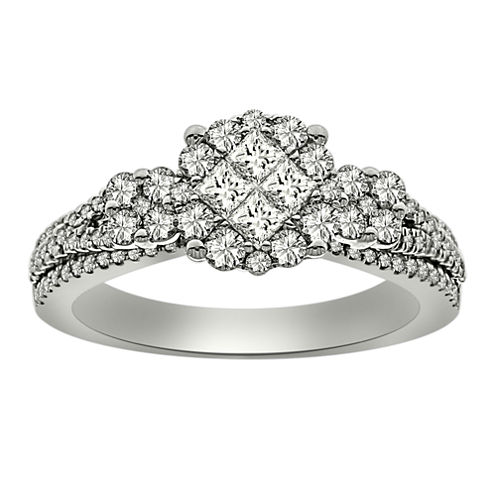 Womens 1 CT. T.W. Princess White Diamond Platinum Engagement Ring
