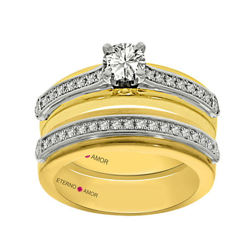 Eterno Amor Womens 3/4 CT. T.W. White Diamond 14K Gold Bridal Set