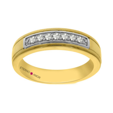 jcpenney.com | Eterno Amor Mens 1/5 CT. T.W. White Diamond 14K Gold Band