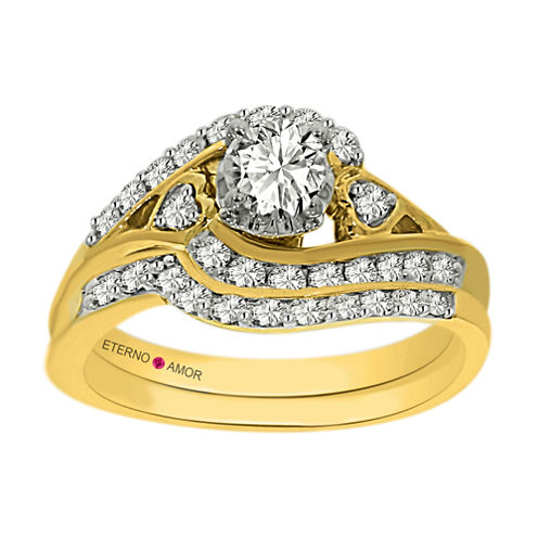 Eterno Amor Womens 1 CT. T.W. White Diamond 14K Gold Bridal Set