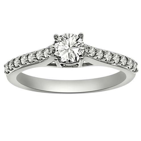 Womens 3/4 CT. T.W. Round White Diamond Platinum Engagement Ring