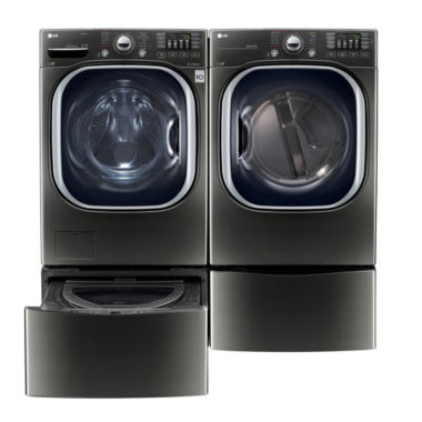 jcpenney.com | LG Front Load 4-pc. Electric Washer & Dryer Set with Pedestal Washer- Black Stainless