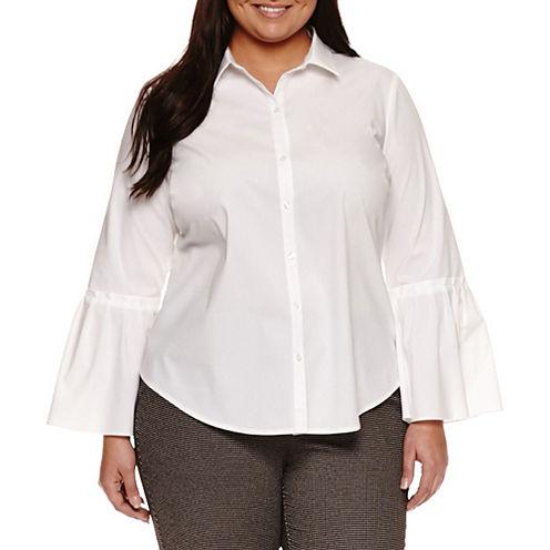 Worthington® Long Flared Sleeve Button Front Shirt - Plus