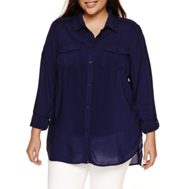 jcpenney.com | a.n.a 3/4 Sleeve Button-Front Shirt-Plus