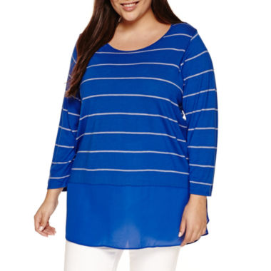 jcpenney.com | a.n.a 3/4 Sleeve V Neck T-Shirt-Plus