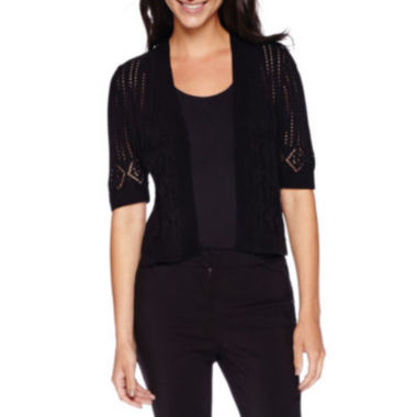 jcpenney.com | Robbie Bee® Elbow-Sleeve Pointelle Shrug