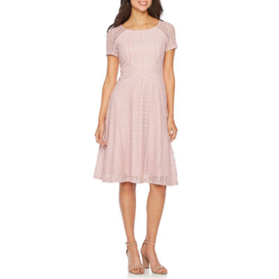 Melrose Short Sleeve Lace Fit & Flare Dress by Melrose