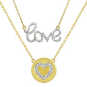 Diamond Addiction Diamond-Accent Mini Love and Heart Necklace Set